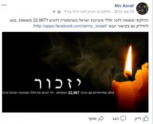 אפליקציית פייסבוק הדלקת נר זיכרון לחללי מערכות ישראל